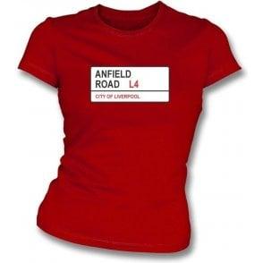Anfield Road L4 Women's Slimfit T-Shirt (Liverpool)