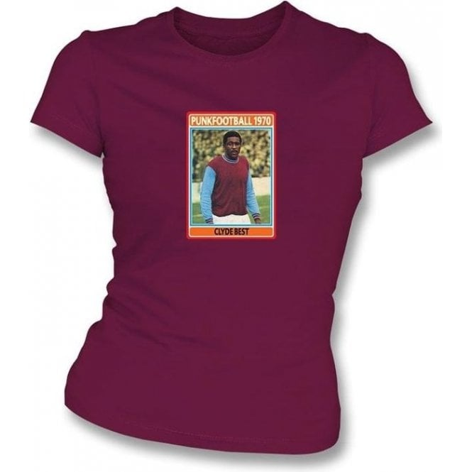 Clyde Best 1970 (West Ham) Maroon Women's Slimfit T-Shirt