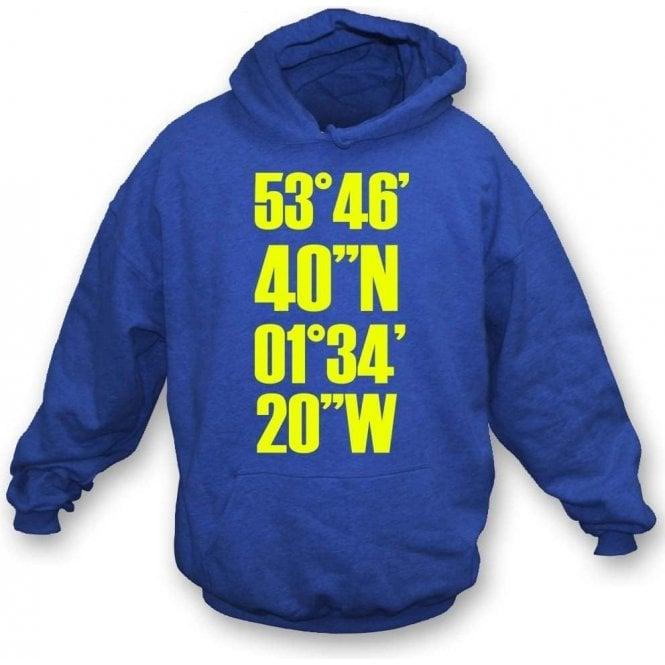Elland Road Coordinates (Leeds United) Hooded Sweatshirt