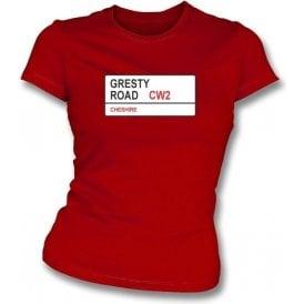 Gresty Road CW2 Women's Slimfit T-Shirt (Crewe Alexandra)