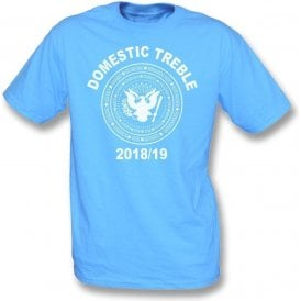 Manchester City Domestic Treble 2018/19 (Ramones Style) Kids T-Shirt