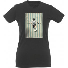 Maradona Vintage Poster Vintage Wash Womens Slim Fit T-Shirt
