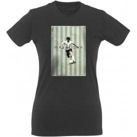 Maradona Vintage Poster Vintage Wash Womens Slim Fit T-Shirt