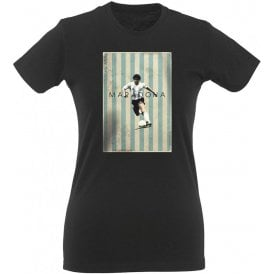 Maradona Vintage Poster Womens Slim Fit T-Shirt