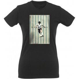 Maradona Vintage Poster Womens Slim Fit T-Shirt