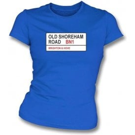 Old Shoreham Road BN1 Women's Slimfit T-Shirt (Brighton)