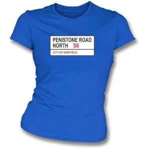 Penistone Road S6 Women's Slimfit T-Shirt (Sheffield Wednesday)