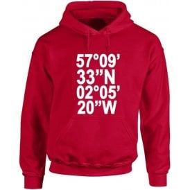 Pittodrie Stadium Coordinates (Aberdeen) Hooded Sweatshirt
