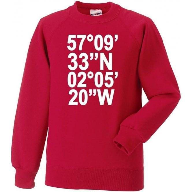 Pittodrie Stadium Coordinates (Aberdeen) Sweatshirt