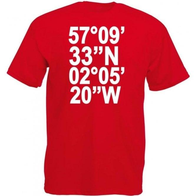 Pittodrie Stadium Coordinates (Aberdeen) T-Shirt
