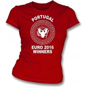 Portugal Euro 2016 Winners (Ramones Style) Womens Slim Fit T-Shirt