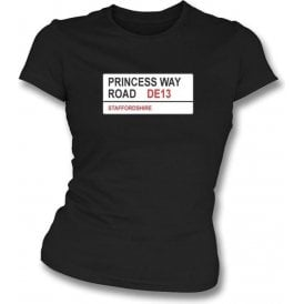 Princess Way Road DE13 Women's Slimfit T-Shirt (Burton Albion)