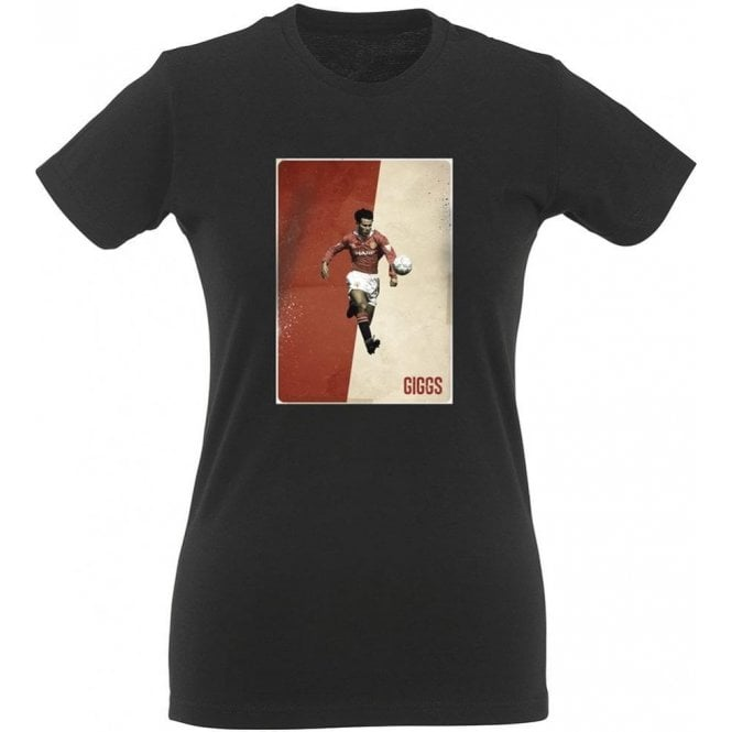Ryan Giggs (Manchester United) Vintage Poster Womens Slim Fit T-Shirt