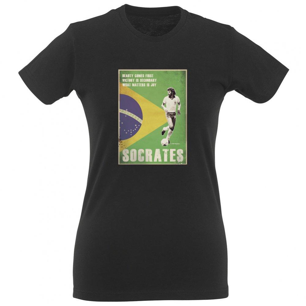 Socrates brazil 80 39 s vintage poster womens slim fit t for Womens brazil t shirt