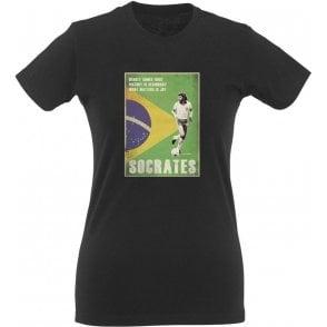 Socrates (Brazil) 80's Vintage Poster Womens Slim Fit T-Shirt