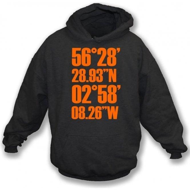 Tannadice Park Coordinates (Dundee United) Hooded Sweatshirt
