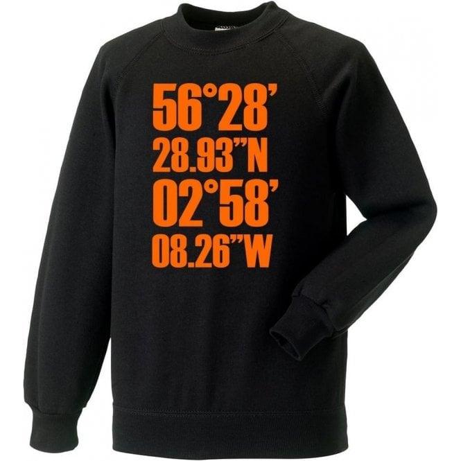 Tannadice Park Coordinates (Dundee United) Sweatshirt