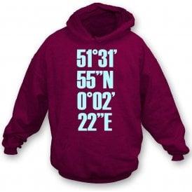 Upton Park Coordinates (West Ham) Hooded Sweatshirt