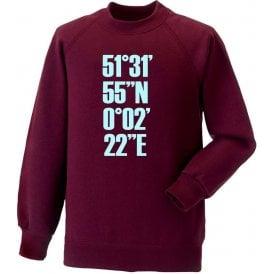 Upton Park Coordinates (West Ham) Sweatshirt