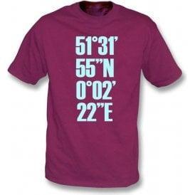 Upton Park Coordinates (West Ham) T-Shirt